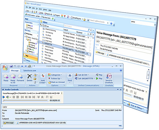 Unified Messaging - Outlook 2007 Inbox & Voice Message